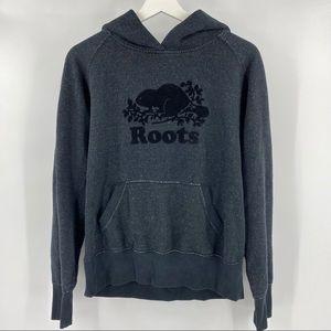 Roots charcoal grey flocked hoodie
